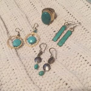 3 pairs of earrings and 1 ring